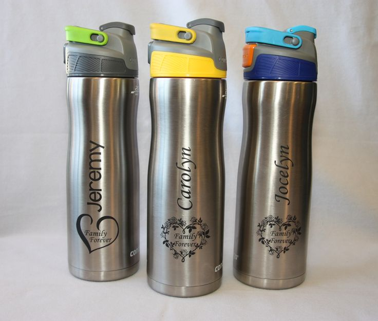 20 oz Contigo stainless water bottle with custom heart themes