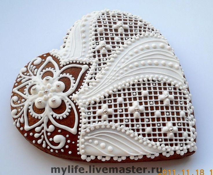 """Пряники-сердечки """"Белое кружево """" - белоснежные,белые кружевные,серебряный"""