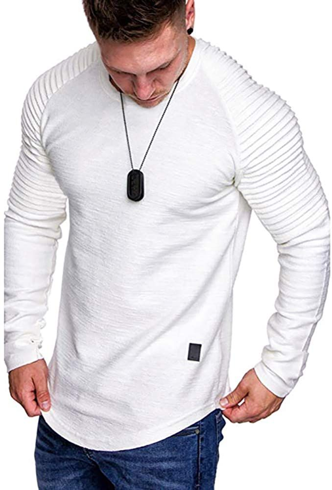 Basic Crewneck Long Sleeve Tee Sport Solid Color Top Mens Athletic Fashion Cotton T-Shirt 5Colors