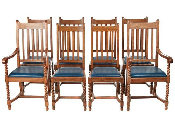 OnlineGalleries.com - QUALITY SET OF 8 ANTIQUE OAK DINING CHAIRS