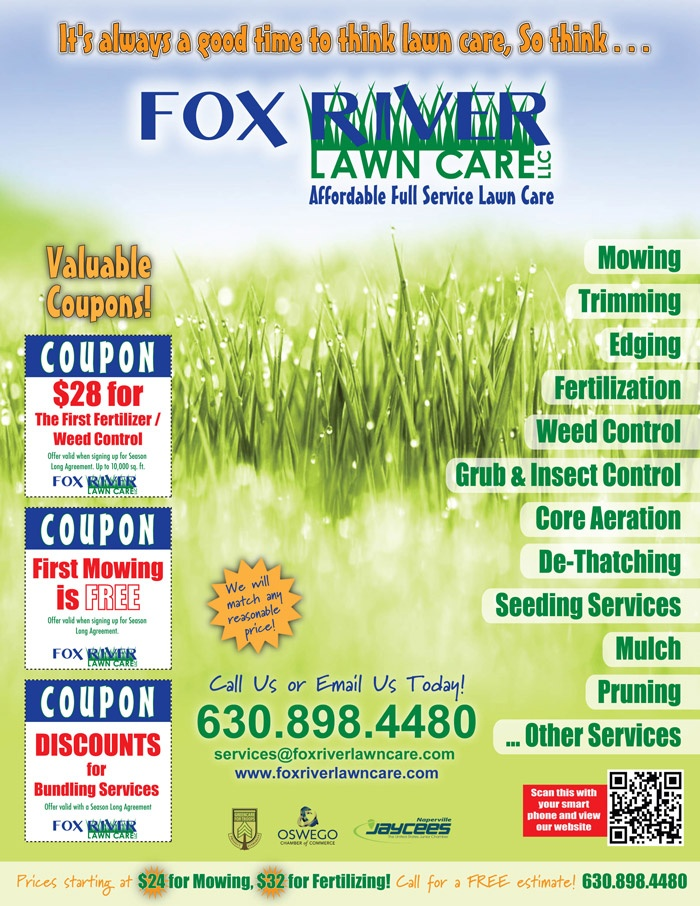 Use Of A Qr Code On This Lawn Care Flyer Is A Smart Idea