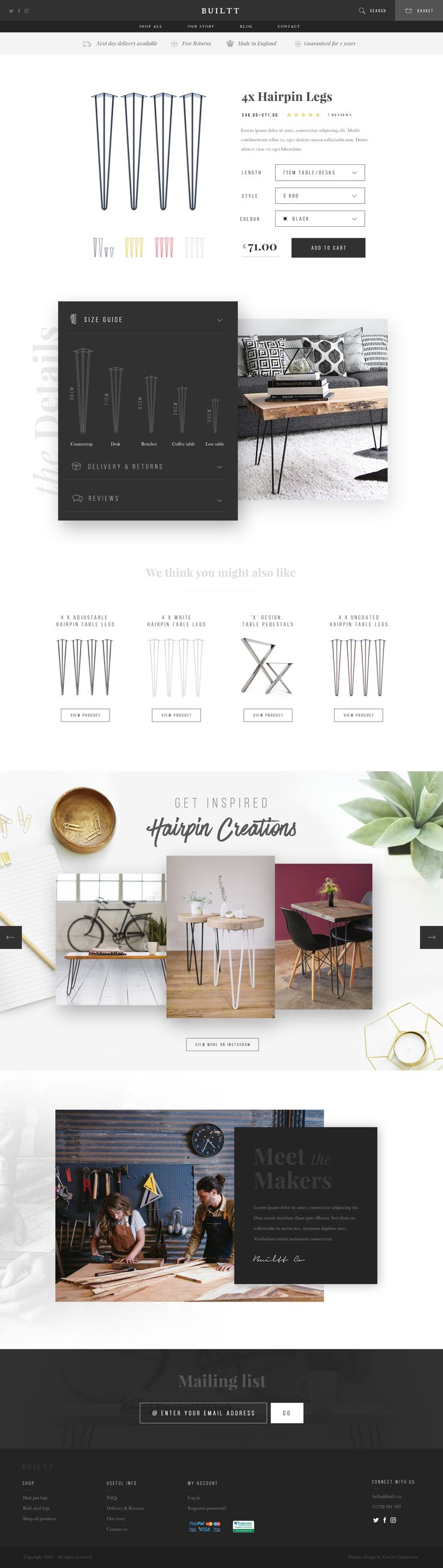 Furniture Website Product Page