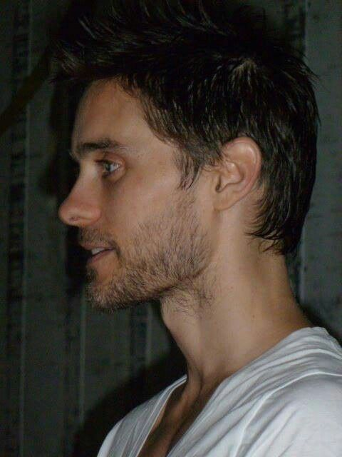 Jared Leto profile with short hair and stubble - so beautiful that it is ridiculous.