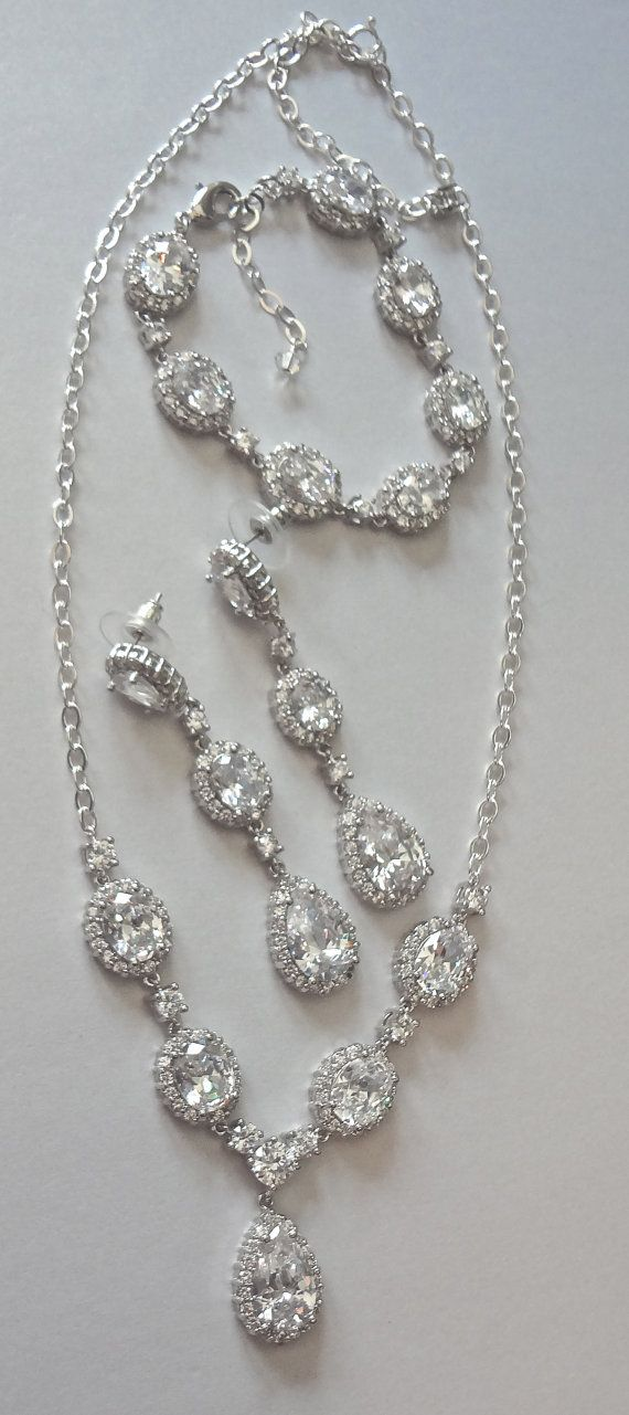Brides jewelry set  Cubic Zirconias  Necklace by QueenMeJewelryLLC, $239.99…love, minus the bracelet