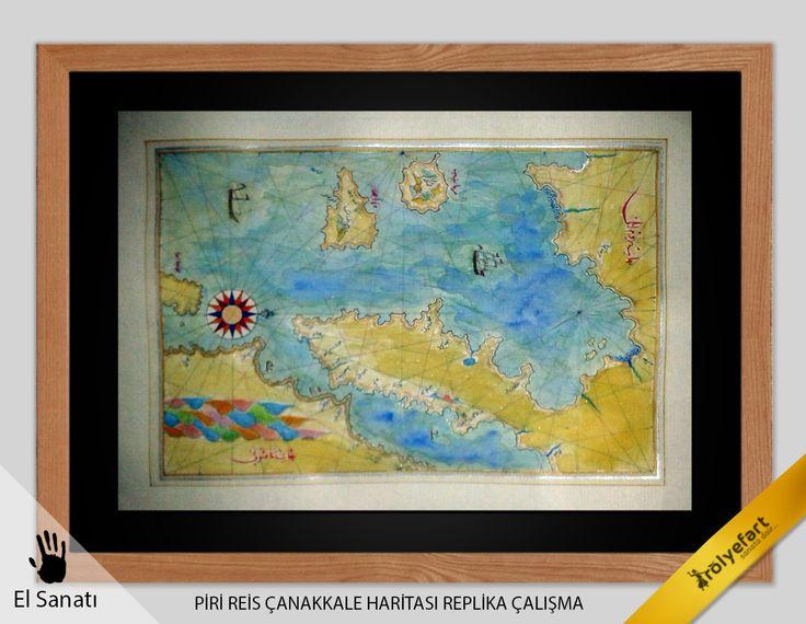 Piri Reis Çanakkale Haritası  Eskitme - El Boyaması 2014 / Özel Seri
