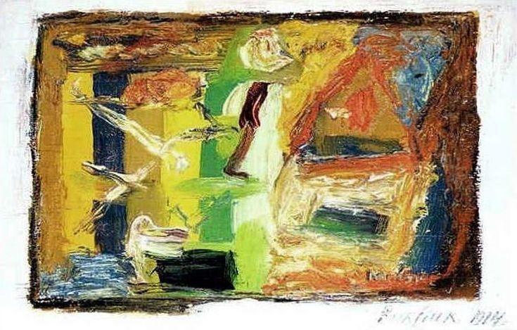 'Abstract Composition', Oil On Canvas by David Burliuk (1882-1967, Ukraine)