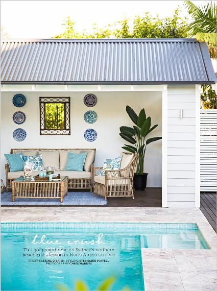 Homes. Blue crush. This gorgeous home on Sydney's northern beaches is a lesson in North American style - clipped from page 106 of Home Beautiful, May 2014 issue by the Netpage app.