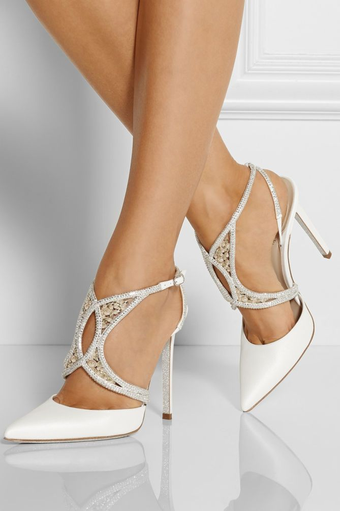 RENÉ CAOVILLA Embellished Cutout Satin Pumps |  $1285 BUY ➜ http://shoespost.com/rene-caovilla-embellished-cutout-satin-pumps/