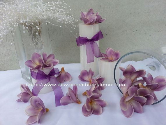NEUE Farbe Lila Gratis Versand Paket 50pcs Blumen künstliche Floating Frangipani Blüten/Hochzeit Bevorzugungen Tisch Deko