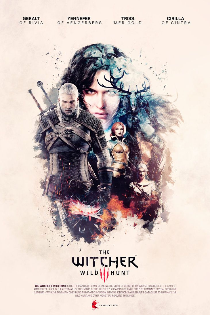 The Witcher 3: Wild Hunt - Unofficial poster Since I saw The Witcher 3 I was in love with it. It's so inspiring and I like so much the ambient and the concept. The 2 previous games was awesom...