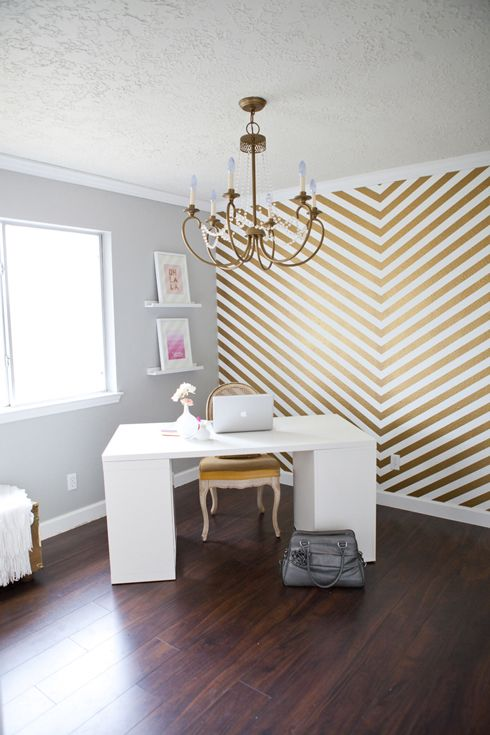 MadeByGirl: Shay's Leap of Faith + Home Office - touches of gold  What I've been wanting to add to my gray walls in bedroom one wall behind headboard !!!!! Tls