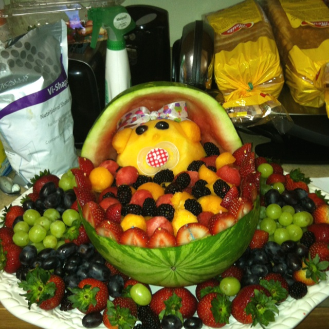 Watermelon bassinet for a baby shower (girl)