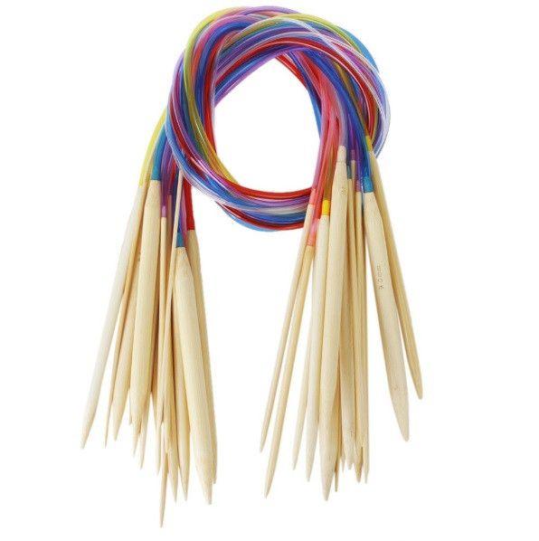 Multi-color Plastic Tube 80cm Circular Bamboo Knitting Needles - 18 Piece Set