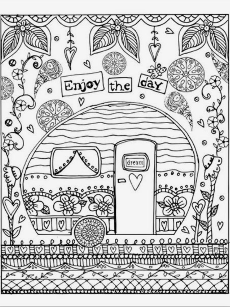free happy camper coloring pages   1640 best Coloring Pages for Adults images on Pinterest