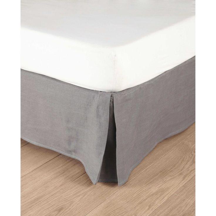 Cache-sommier 160x200 en lin lavé gris | Maisons du Monde