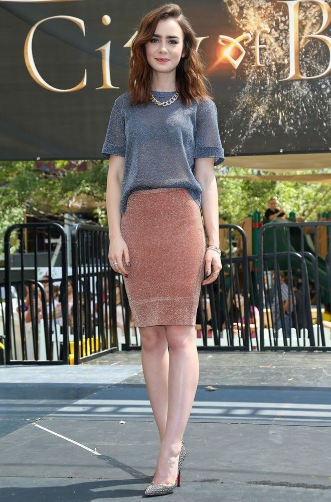 tshirt and pencil skirt on lilly collins