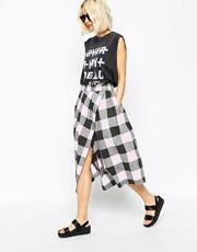 Cheap Monday Checked Wrap Midi Skirt