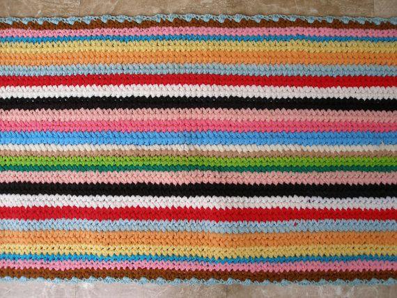Vintage Crochet Kitchen Rug Bath Mat From by VintageHomeStories,