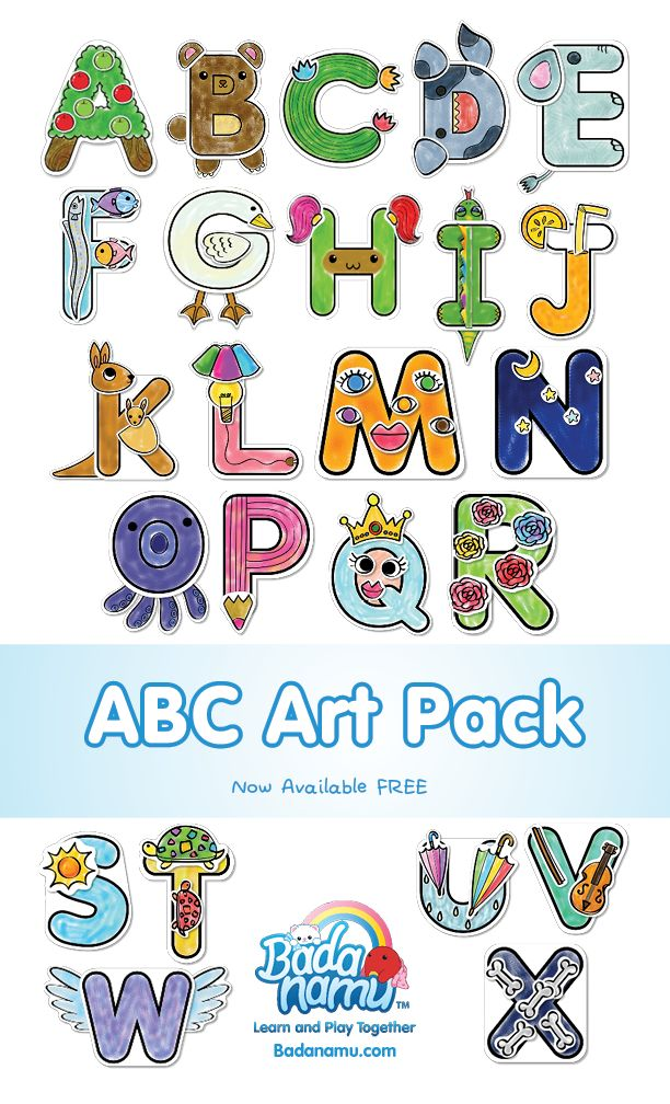 Fun ABCs art pack is now available free in Badanamu.com