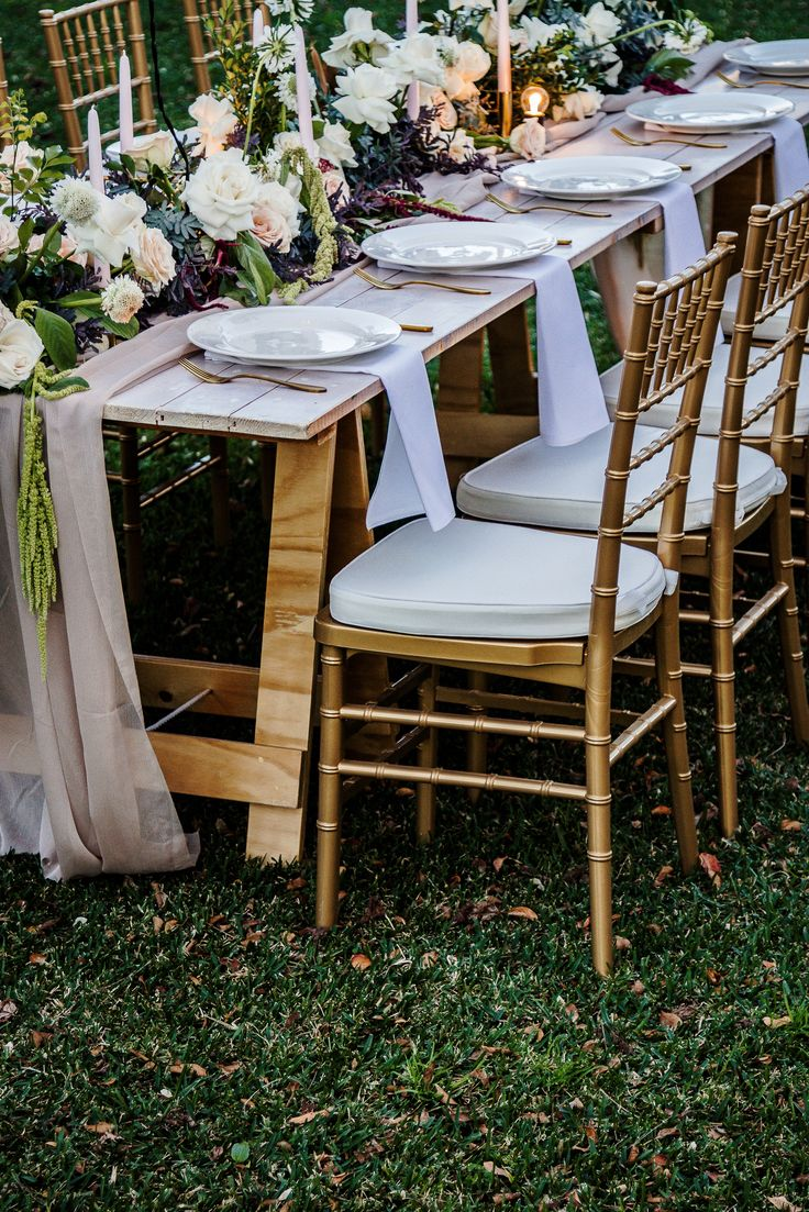 Gold Tiffany Chairs, White Timber Trestle, South Coast Weddings, South  Coast Party Hire Part 64