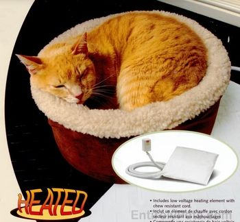 """Petmate Heated Cat Bed 15"""" Round EntirelyPets"""
