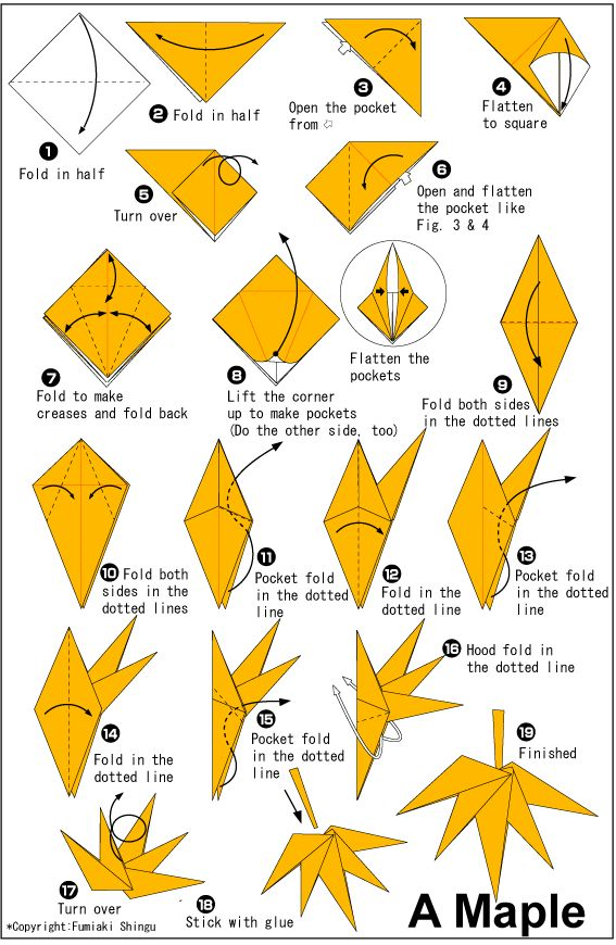 Mapple Leaf This origami leaf can be made together with flowers. This can be really beautiful and fun too! Instructions: