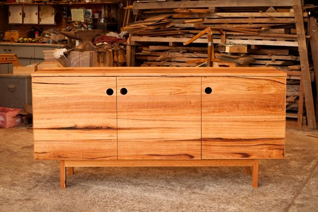 Kennet Buffet - 70's inspired recycled timber buffet with top heavy design, small tapered legs and finder holes.