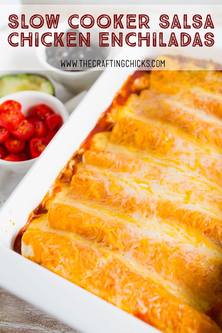 Slow Cooker Salsa Chicken Enchiladas - If you are needing a fix it and forget it dinner idea, Slow Cooker Salsa Chicken Enchiladas is the one for you. This recipe is delicious and flavorful.