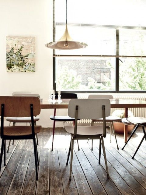 I love lots of sunlight, mutual tones, and mix-matched chairs for a family-size dining table. Found on www.milkmagazine.net via Tumblr
