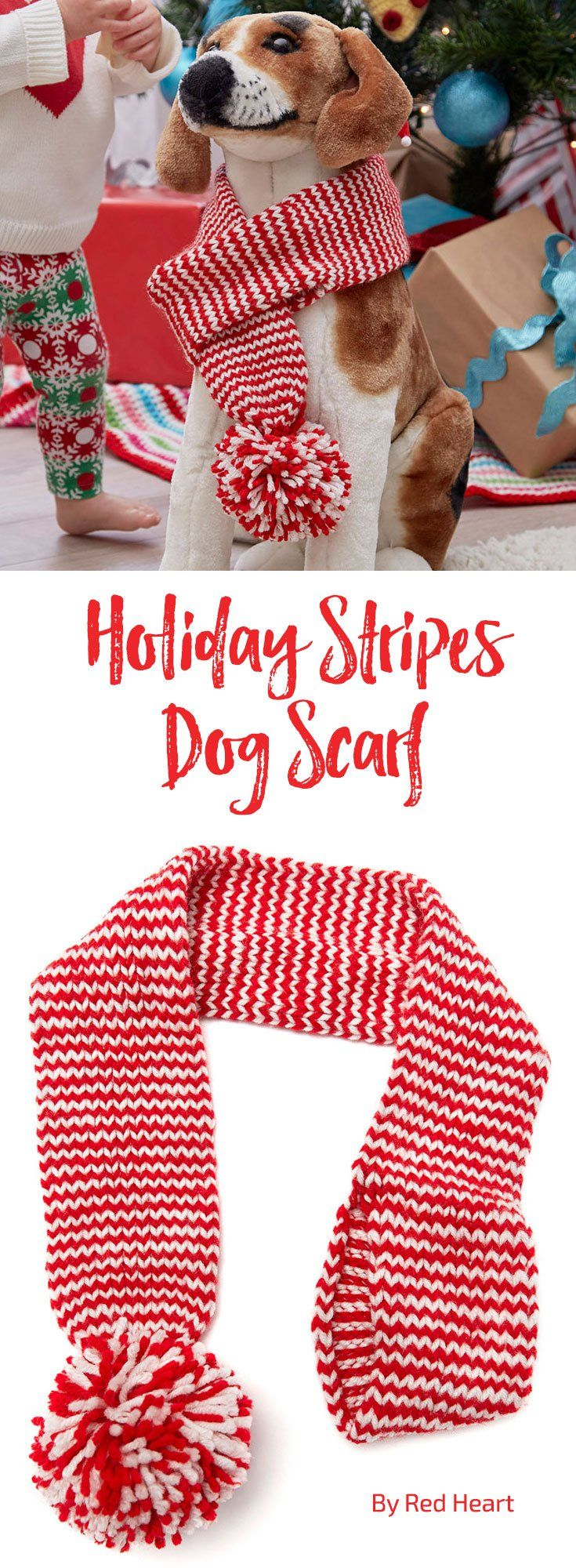 Holiday Stripes Dog Scarf free knit pattern in Super Saver.