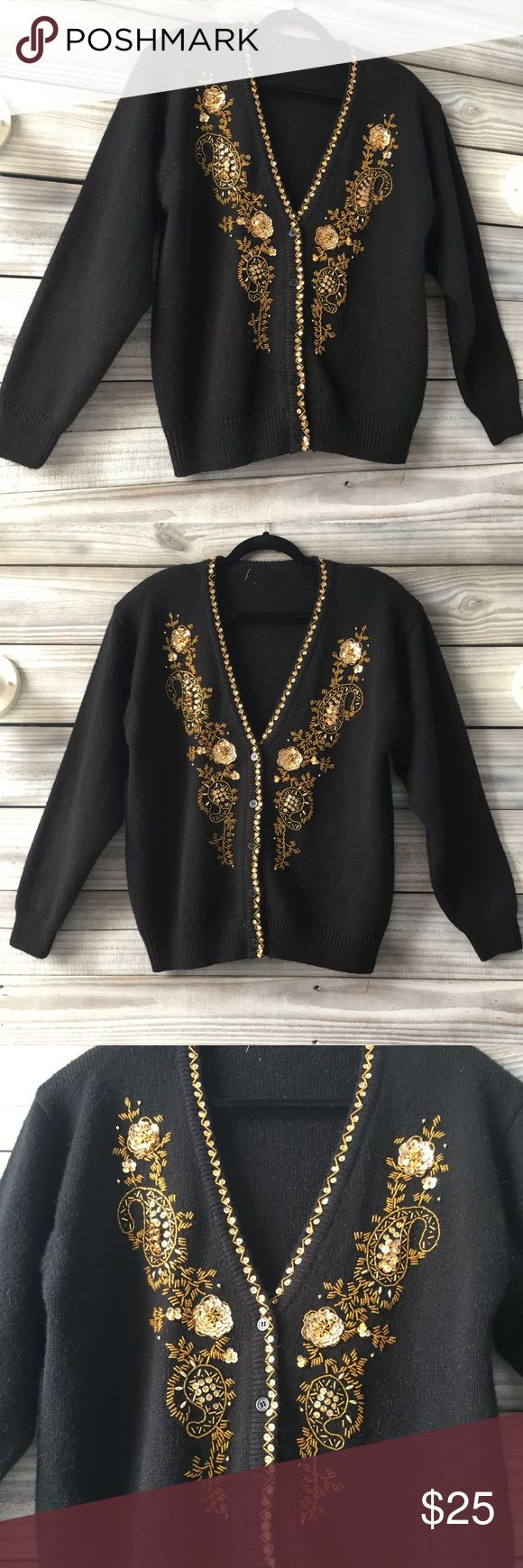 Vintage Black & Gold Cardigan Gold sequins & beading embroidery kick this cardigan up to rockstar status! Shoulder pads and all!! Tags are removed, would fit up to XL Vintage Sweaters Cardigans