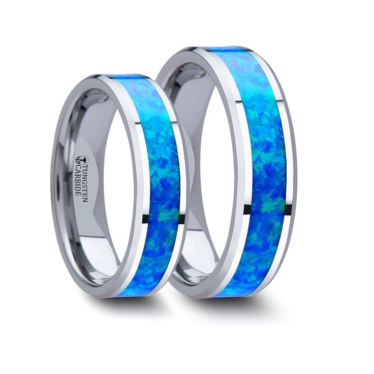 Matching Rings Set Tungsten Wedding Band with Blue Green Opal Inlay - 6 mm - 8 mm