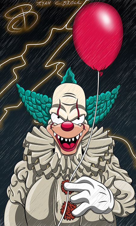 Krusty as pennywise the clown