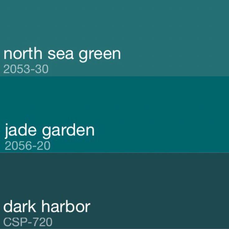 "Ideas for bedroom walls. Benjamin Moore paints ""North Sea Green"", ""Jade Garden"", and ""Dark Harbor""."