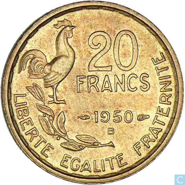 Monnaies - France - France 20 francs 1950 (B - G.GUIRAUD - 4 veren)