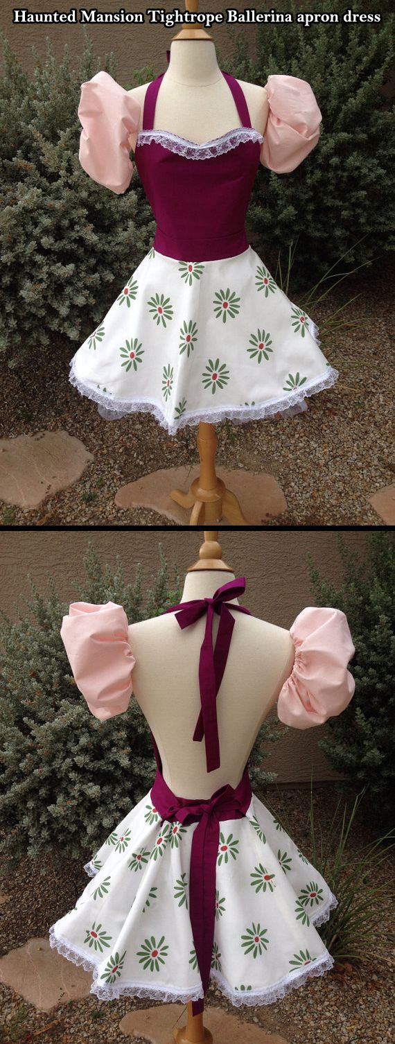 Haunted Mansion Tightrope Ballerina apron dress. All you need now is a parasol. I have all of this lady's Haunted Mansion aprons and I can attest that the quality is superior!