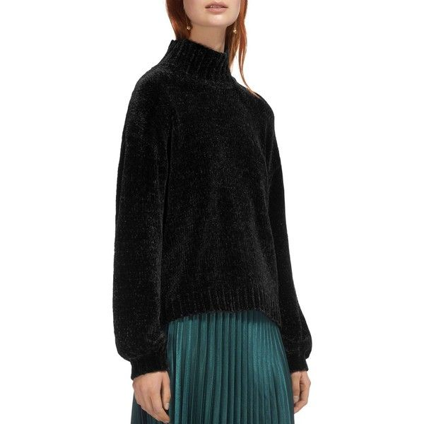 Whistles Funnel Neck Chenille Sweater ($275) ❤ liked on Polyvore featuring tops, sweaters, black, chenille sweater, sleeve top, whistles sweater, whistles tops and funnel sweater