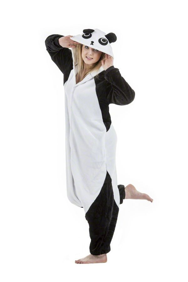 037e5a5cf Pyžamový overal panda v čierno bielej farbe   Overaly kigurumi ...