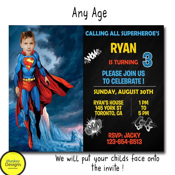 SUPERMAN BIRTHDAY INVITATION Superhero Birthday by MunkeyDesigns