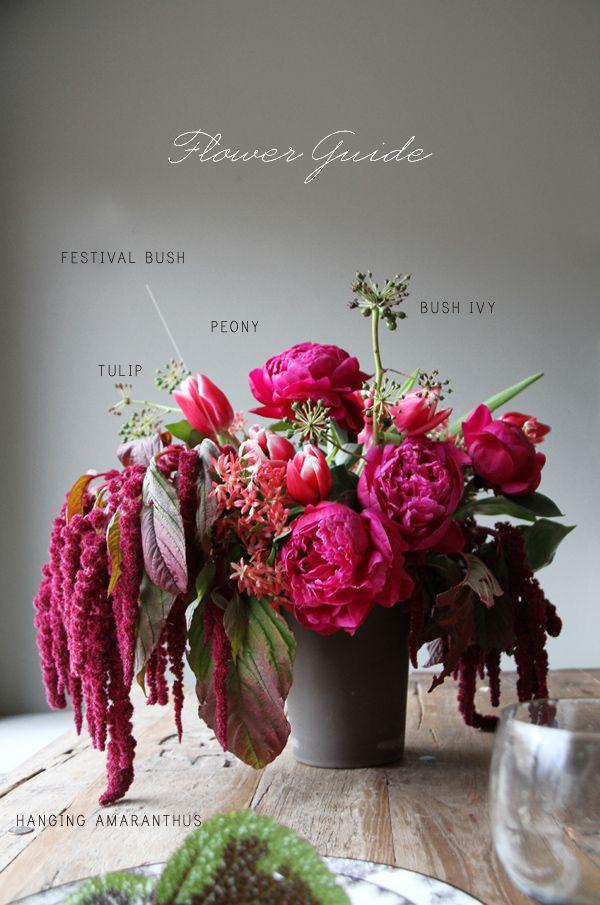 hot pinks + reds floral arrangement: peonies, amaranthus, tulips, festival bush and bush ivy
