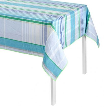 """Le Jacquard Francais Aqua Brunch Linen Tablecloth, 55 x 102"""" – HOPSON GRACE"""