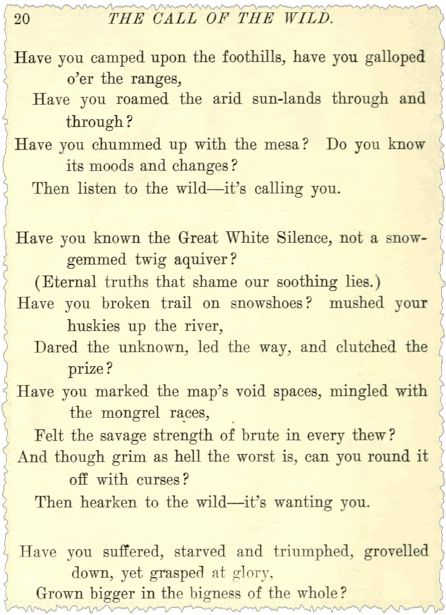 Analysis of The Call of the Wild by Robert W. Service