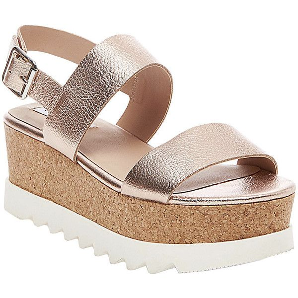 Steve Madden Krista Wedge Sandals ($90) ❤ liked on Polyvore featuring shoes, sandals, rose gold, wedges shoes, cork platform sandals, platform sandals, mid heel sandals and platform wedge sandals