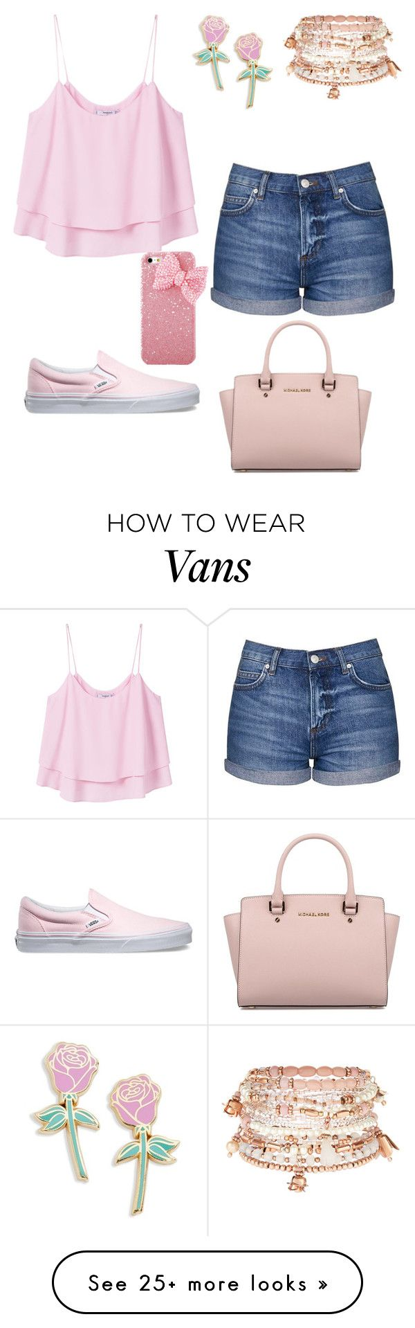 """""""Pink roses"""" by sweet-brownsuga on Polyvore featuring MANGO, Topshop, Vans, Big Bud Press, Accessorize and Michael Kors"""