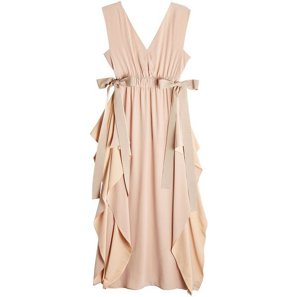 Fendi Silk Crepe Dress found on Polyvore featuring dresses, pink, flouncy dress, frilly dresses, pink frilly dress, pink bow dress and nude dress