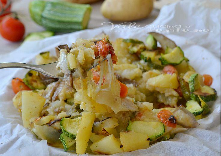 Patate zucchine e melanzane al forno con mozzarella