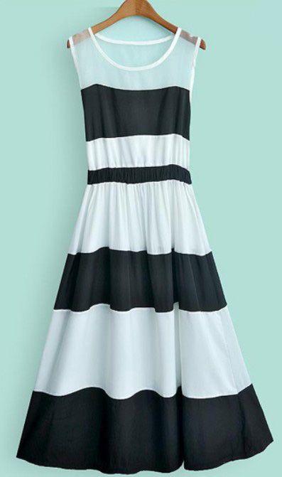 Beige Black Striped Sleeveless Pleated A Line Dress US$36.07