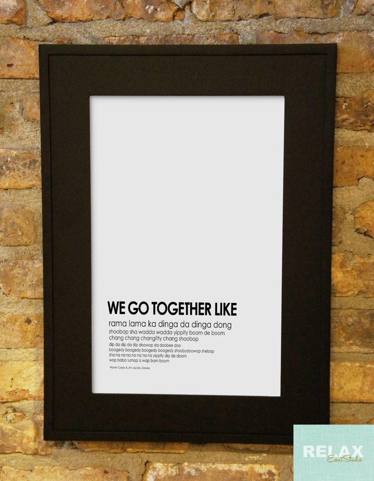 Printable Grease Musical Theater Song Lyrics by RelaxEventStudio