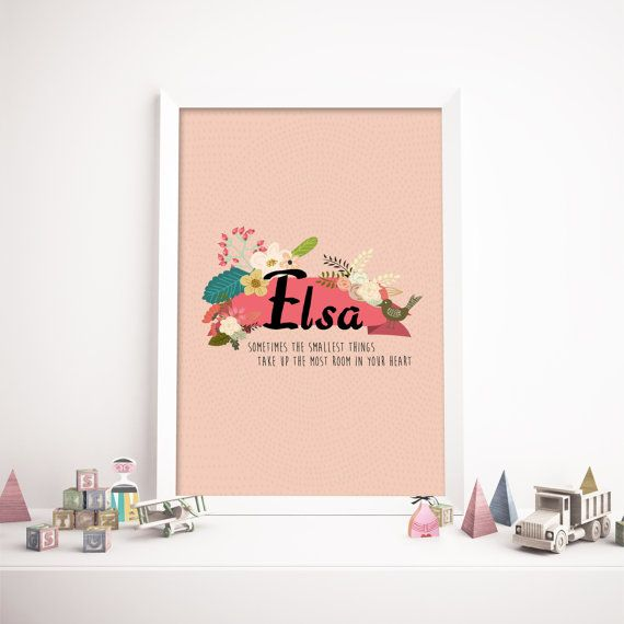 Cute personalized name poster in pastel colours. A perfect fit for your scandinavian themed decor. Designed, printed and shipped from Stockholm, Sweden, this makes a perfect gift for birthday, baptism or just a special gift for your children.   Each print is customised and designed with child's name and a quote of your selection. You may also choose the orientation of the print in either portrait or landscape.