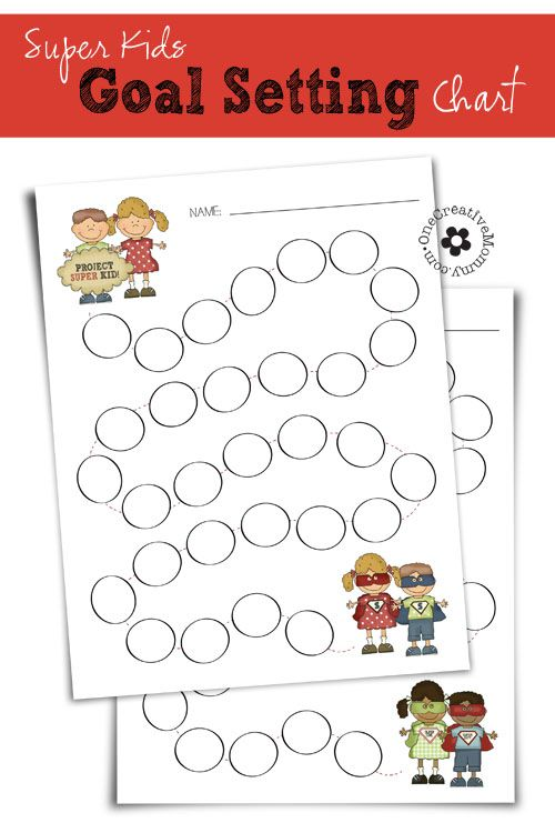 Free Printable Super Kids Goal Chart {Help your kids keep track of the great things they do on the road to becoming Super Kids!} OneCreativeMommy.com {Parenting Tips & New Years Resolution Ideas}